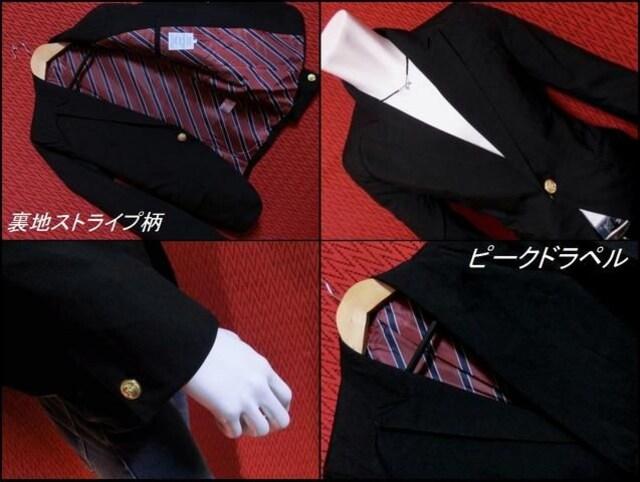T/Rスーツ地ショート丈テーラードJKT 裏ストライプ/BLACK/M < 男性ファッションの