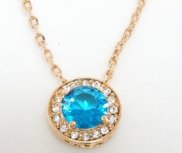 18KRGPゴールド高級CZブルー彩石揺れネックレス pn3676