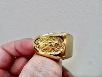 仁尾彫金『ゴールド双龍印台リング』ハンドメイド178