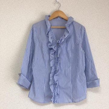 七分袖 フリル飾りストライプシャツ★