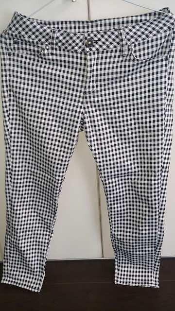 白×黒ギンガムチェックパンツ★W73  < 女性ファッションの