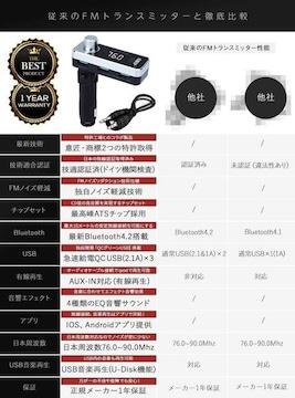 FMトランスミッター Bluetooth 4.2 高音質