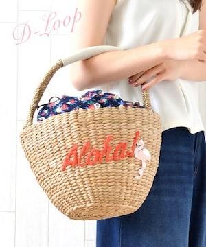 SALE●コロンと可愛い●バケツ型フラミンゴ刺繍カゴバッグ