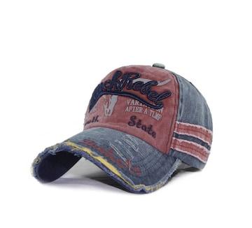 ★送料無料★ダメージ加工♪USED風♪CAP帽子♪BLUE