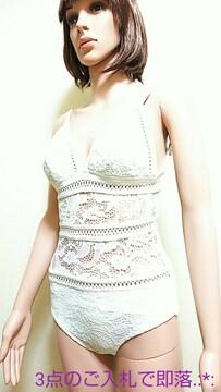 美品☆L☆微光沢純白レースのSexyウェア3308☆3点で即落