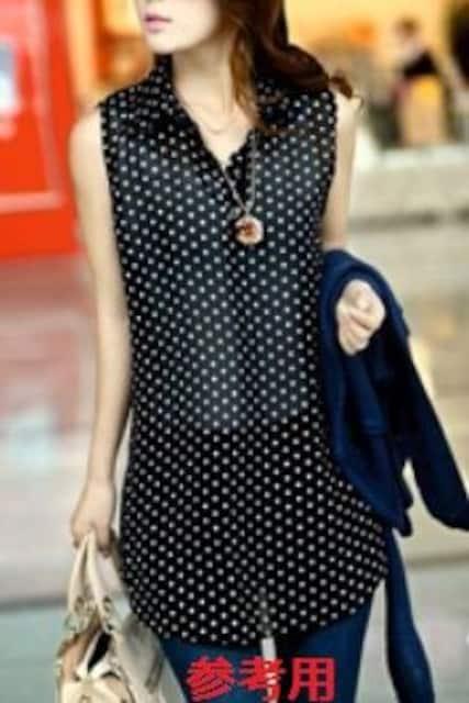 ●可愛いドット柄ノースリブラウス&ニット濃紺2点set < 女性ファッションの