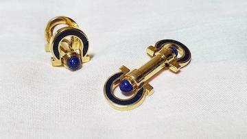 正規レア フェラガモ ガンチーニロゴ ロングシェイプカフス 金×青 カボションWボタン