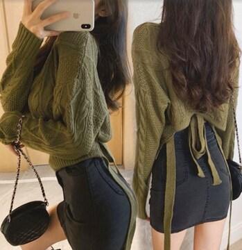 グリーン/フリーサイズ レディース トップス Vネック セーター