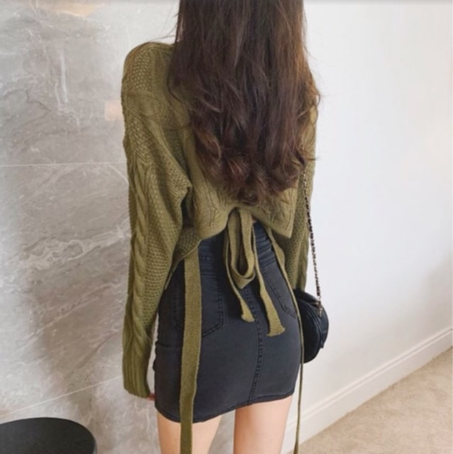 グリーン/フリーサイズ レディース トップス Vネック セーター < 女性ファッションの