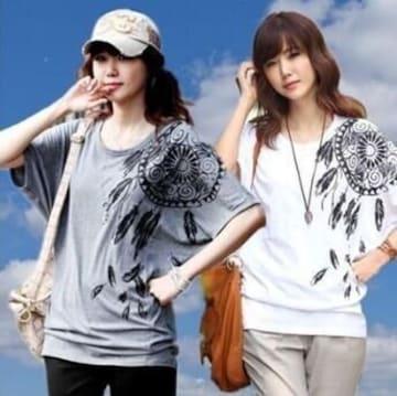 1点のみ790円★人気ヒット中 ドルマンプリントTシャツ白M