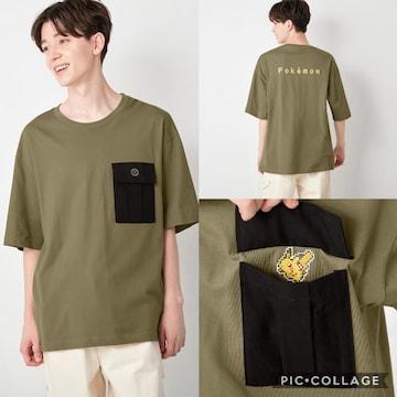 gu ジーユー コットンビッグt  ポケモン 5 半袖 tシャツ トップス メンズ カーキ XL