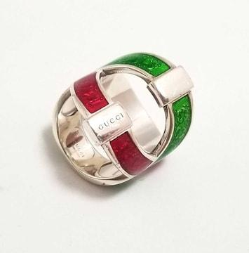 正規グッチ指輪12リングSV925シルバーグリーンレッド