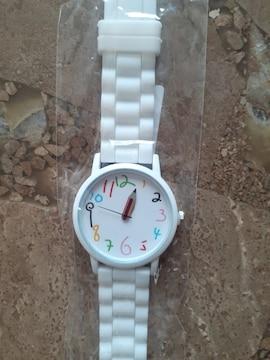 新品未使用・腕時計・鉛筆針・白