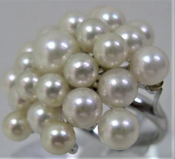 Pt900 プラチナ リング 指輪 パール アコヤ真珠25ヶ付