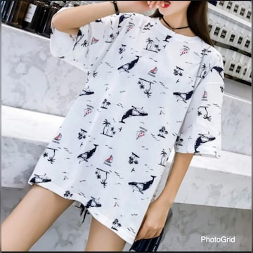 ★ ホワイト/Lサイズ ☆新品 未使用☆ レディース Tシャツ