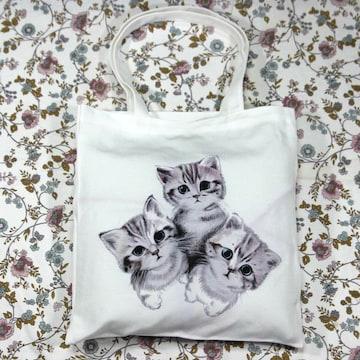 ◆猫大好き◆猫柄トートバッグ キャンバス白地 BA02
