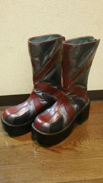 送料無料/イギリス国旗ユニオンジャック柄厚底ブーツ定価17800円の品