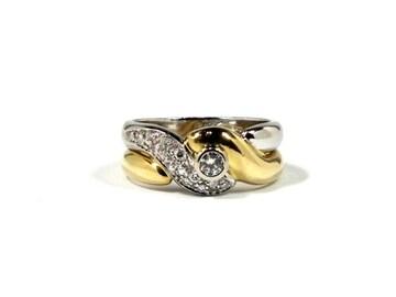 正規K18ダイヤリング指輪コンビ#13750YG 750WGノンブラ
