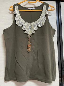新品 LL 超豪華刺繍スパンコール襟付きビーズアクセタンクトップ