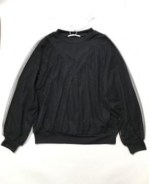 GREENPARKS〓チュール重ねラグランカットソー黒(F)新品〓