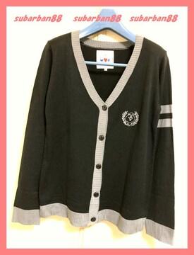 ☆WC☆新品6195円♪クマタン刺繍エンブレムニットカーデ黒☆
