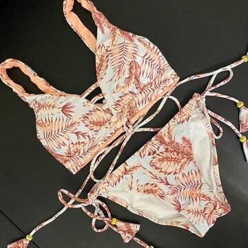 後ろ編み上げ ビキニ 上下セット レディース水着 ピンク