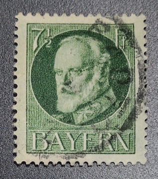 1916-18年ドイツ バイエルン切手7-1/2pf 使用済み