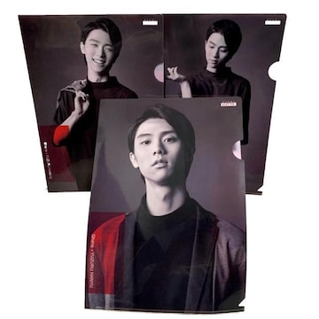 【NEW/非売品】羽生結弦オリジナル クリアファイル3枚組/A4/黒