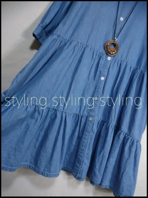新品!大きいサイズ3L♪切替Aラインチュニックシャツ☆ブルー < 女性ファッションの