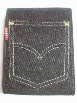 Levis リーバイス ブラック デニム ジーンズ デザイン 生地 財布 革 コンパクト