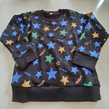 黒に星柄、長袖トレーナー110