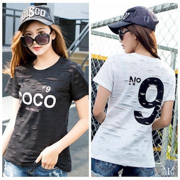 穴あき風 N9プリント COCOロゴ 大人気 Tシャツ 4L〜6L