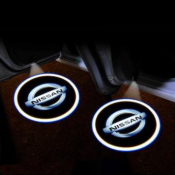 日産 2個 メーカーロゴLEDカーテシランプ/ウェルカムライト