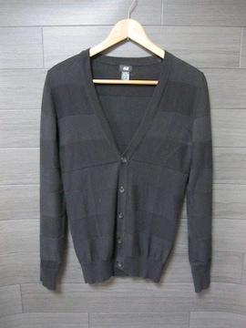 □H&M/エイチアンドエム デザイン カーディガン/ブラック・メンズ・XS