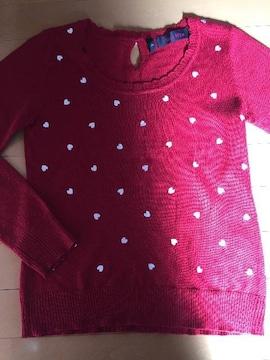 Pink Mix☆赤☆長袖ニット☆ハート柄☆セーター