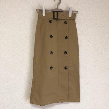 ジーユー ベルト付き、ミモレ丈チノスカート★