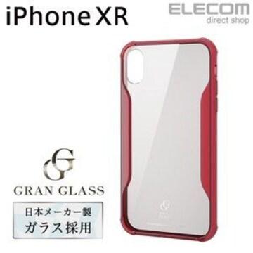 ★ELECOM iPhoneXRケースガラス 耐衝撃設計 クリアレッド