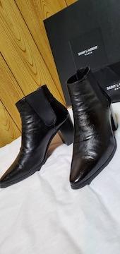 正規レア サンローランパリ 85フレンチブーツ黒 40 25~26cm メンズ サイドゴアヒールブーツ