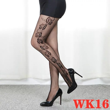 デザインタイツ&可愛い花柄タイツ&ストッキング 美脚 黒