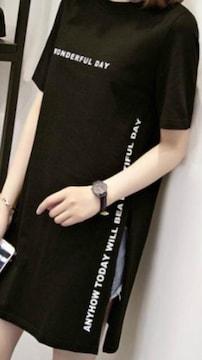 新品薄手ロゴスリットゆったりワンピース.TシャツL