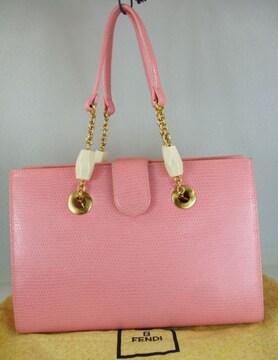 フェンディ型押レザーハンドバッグ ピンク