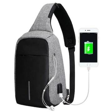 ショルダーバッグ ボディバッグ USBポート付 グレー