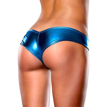 ブラジリアンカットのセクシーメタリックショーツ ブルー