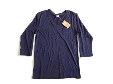 新品 Healthknit ヘルスニット Tシャツ 紺 ロンT 七分袖〜長袖 L