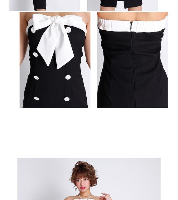 800スタ☆Rich or die胸元リボンベアタイトワンピ☆新品タグ付き < 女性ファッションの
