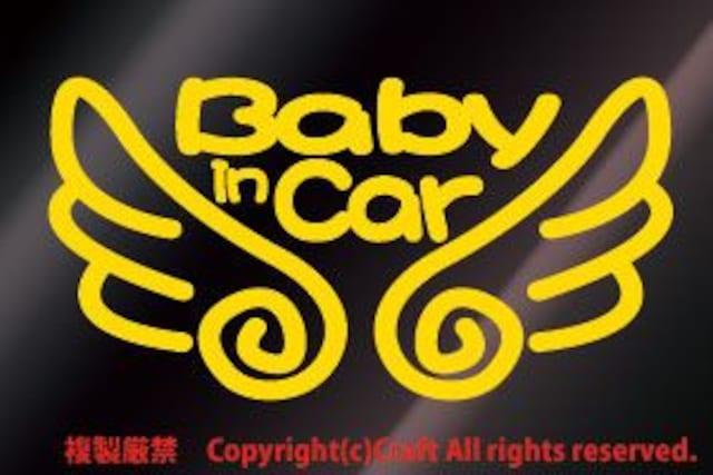 Baby in Car 天使の羽ステッカー(eb黄/ベビーインカー  < キッズ/ベビーの
