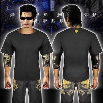 送料無料菊紋柄半袖Tシャツ 派手ヤクザ オラオラ系和柄上下服18001黒金-M