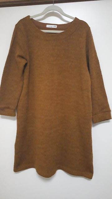 秋冬にピッタリなマスタード色の長め丈ニット、チュニック  < 女性ファッションの