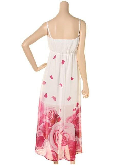 DaTuRa白ピンクリゾートローズマキシワンピースダチュラバラ花柄エロカワさくりな < ブランドの