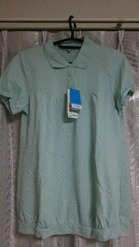 新品 タグ ドット柄 半袖 ポロ シャツ ペールミント × ホワイト 吸水速乾 UVカット